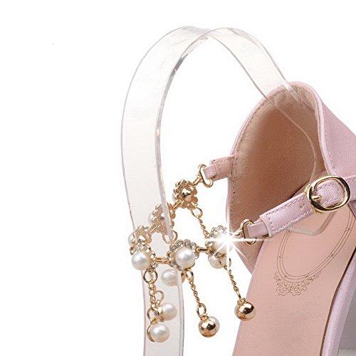 AllhqFashion Femme Pointu Boucle Pu Cuir Mosaïque à Talon Correct Chaussures Légeres Rose