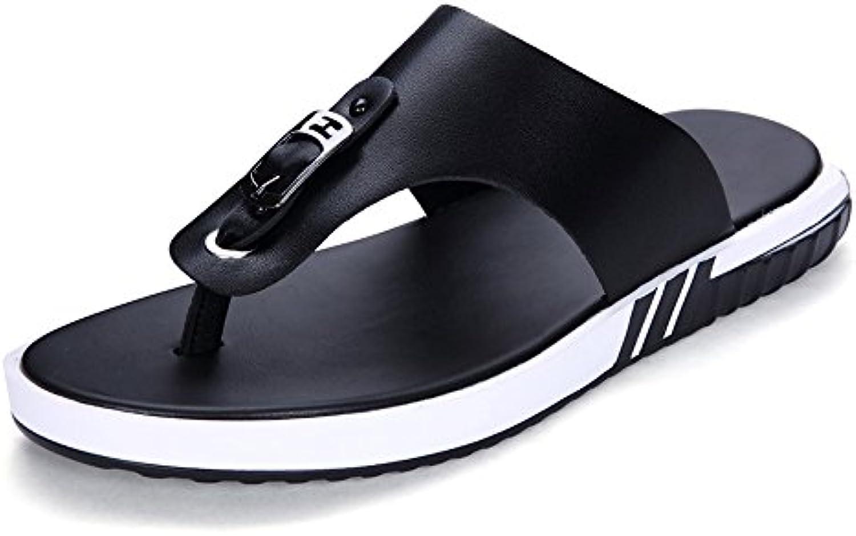 Juans shoes  Herren Sandalen  Männer Casual Thong Beach Slipper Echtes Leder Flip Flops Rutschfeste Weiche Sohle