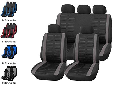 upgrade4cars Autositzbezüge Set Universal in Schwarz Grau | Premium Auto-Sitzbezug Komplettset für die Vordersitze & Rückbank | Pkw Sitzbezüge für Sommer & Winter (B1 Grau)
