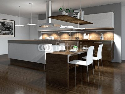 """Leinwand-Bild 90 x 70 cm: \""""Moderne Einbauküche mit Holzelementen\"""", Bild auf Leinwand"""