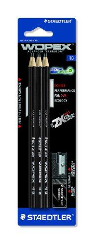 Staedtler Wopex 180HB9S1BK - Lote de Lápices, sacapuntas y goma de borrar (6 lápices, HB), color negro