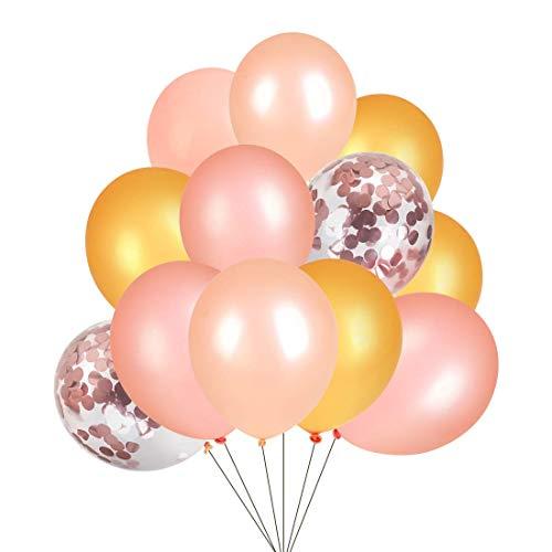 Youth Union Luftballons, 12-Zoll Latex Ballons Konfetti Ballons für Hochzeit Party Geburtstag Feiern, Farbige Ballons, Partyballon,50 Stück, 5 Farben (Rosegold & Rosa& Gold & Champagner Gold & Weiß)