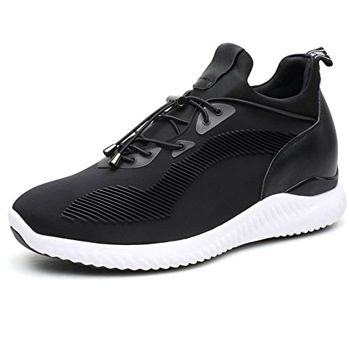 CHAMARIPA-Aufzugs-Turnschuhe Sport-beiläufige leichte Schuhe mit versteckter anhebender Ferse für Mann Schwarzes Blau Grau -7cm Taller-H71C62V012D (44, Schwarz)