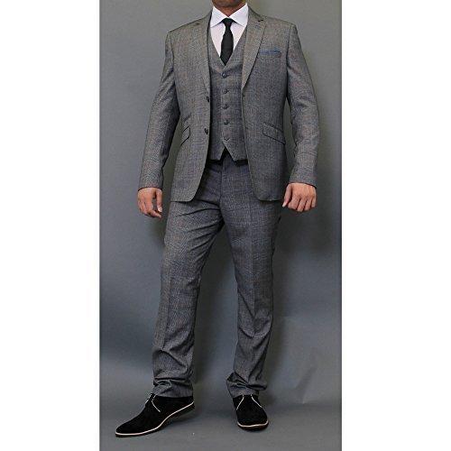 Uomo Tweed A Quadretti Blazers Gilet Pantaloni 3 Pezzi Abiti By Cavani Grigio - EDAN