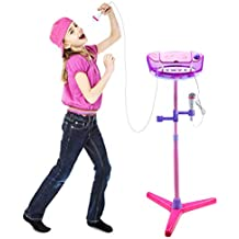 Shayson Kids Karaoke Machine Adjustable Portable Stand Up Speaker Kit for Child Kids Microphone