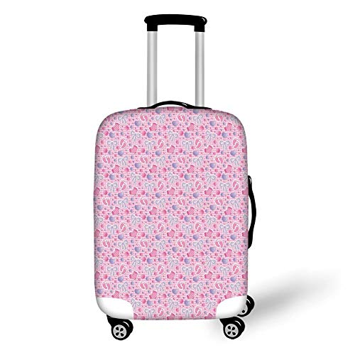 Suitcase Protector,Baby,Bows and Bootes Buttons Ribbon Infant Elements Birthday Theme on Tartan Display Decorative,Pale Pink Mauve,for Travel S ()