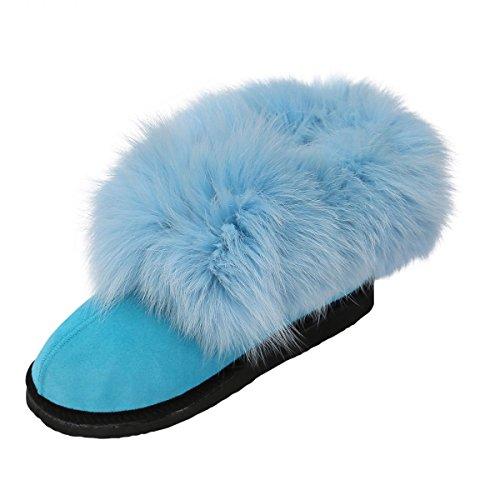 Peau de mouton Chaussons - HOLLYWOOD Femmes Chaussures avec laine mit Renard bleu clair