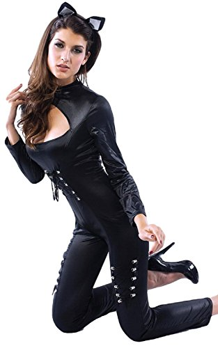 Catsuit PVC Overall Katze Sexy Halloween Hero Kostüm Kleid Outfit UK 6-16 - Schwarz, 14-16 (Sexy Catwoman Outfits)