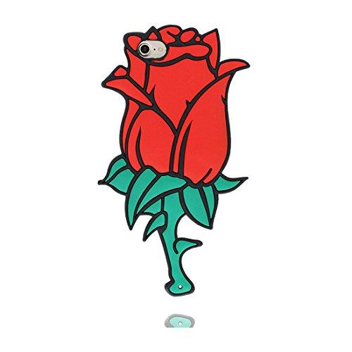 """Case iPhone 7 Coque, [ 3D Cartoon Rose noire Rose blanche fleur TPU Material Flexible ] Étui iPhone 7 Cover 4.7"""", sale Résistant rouge"""