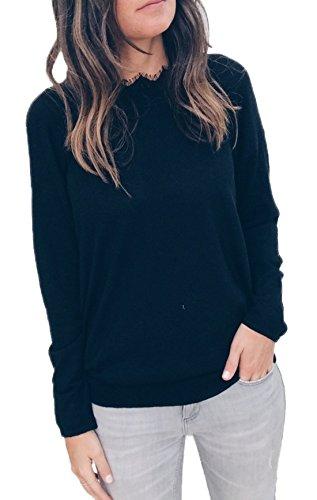 YMYY-Kleider Donna Sweatshirt Bluse e Camicie Maglie a Manica Lunga Girocollo Moda Casual Senza Schienale Pullover T-Shirt Top Nero