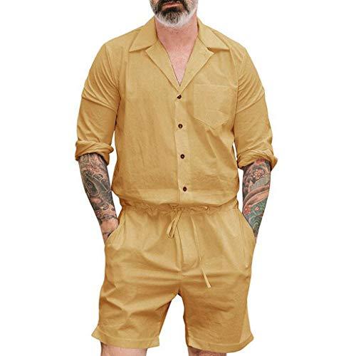 Saingace Herren Sommerjumpsuit kurz Anzug Overall Onesie Jumpsuit Mode Reine Farben-große Kleidungs Knopfoverall