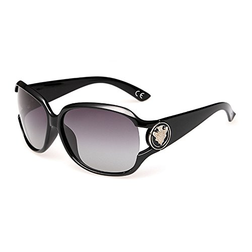 VeBrellen VeBrellen Damen Mode Polarisiert Oversize Sonnenbrille 100% UV-Schutz VS005 (Black)