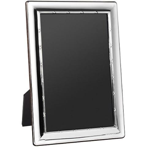 Hall Mark portafoto, Sterling-argento 925, Reed-and-Ribbon-Design, disponibile in 4 misure, consegnato in confezione regalo blu, L2 - 6 x 4 inch photo - 925 Misure In Argento Sterling