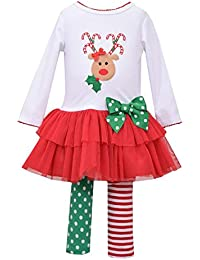 Bonnie Jean Baby Toddler Girls White Red Two Piece Christmas Embroidered Reindeer Tutu Set