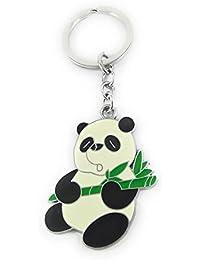 Key Era Grass Eating Kung Fu Panda Black & White Colour Metal Keychain & Keyring For Bikes, Cars, Bags, Home,...
