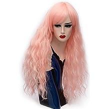 Femme Perruque synthétique Long Deep Wave Gris Rouge Bleu Jaune doré rose Halloween Perruque Costume Perruque