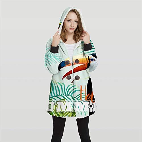 NGMZ 2019 Winter Lange Jacke Decke Mantel Mit Kapuze Decke Baumwolle Jacke für Frau Tropische Pflanze Papagei Drucken Sherpa Decke,2,L -