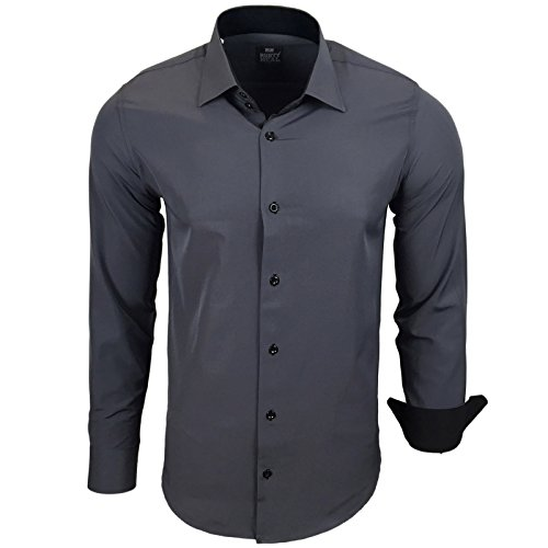 Rusty Neal Herren Kontrast Hemd Business Hochzeit Freizeit Slim Fit S bis 6XL Anthrazit