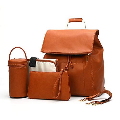 Rclhh Baby Windel Rucksack, Premium PU Leder Damen Travel Wickeltasche, Mama Mutterschaft Umhängetasche mit Wickelauflage und Kinderwagen Gurte