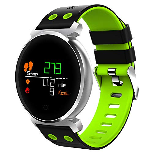 JiaMeng Smartwatches - K2 Schermo a colori Frequenza cardiaca Sport pressione IP68 Smartwatch per iOS Android Smart watch green