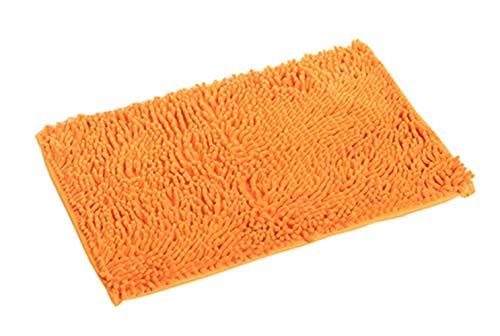 Pahajim tappetino da bagno tappeto assorbente antiscivolo da bagno in ciniglia tessuto morbido tappeto bagno 80x 50cms, fibra di bambù, orange, 80 x 50 cms
