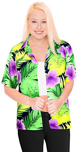 LA LEELA Taste nach unten hawaiische Coverup Oben kurzen �rmeln Luau Frauen Bademode Tag XXL -
