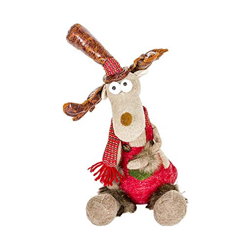 (FLYWS Weihnachtsschmuck Dekoration kleine Puppe Weihnachten kreative Elk Puppe Spielzeug Dekoration)