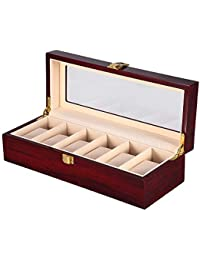 Présentoir Boîte Coffret à Montre Bijoux Coffret de Rangement avec Serrure Ecrin Homme Femme en Bois (6 grilles)
