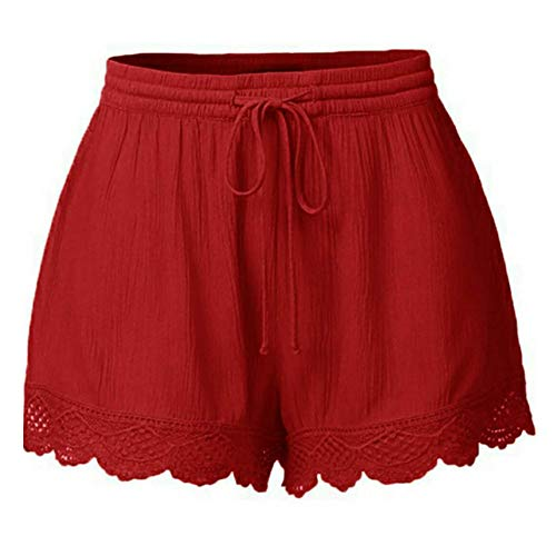 Cwemimifa Damen Shorts Hotpants Blickdicht Stretch, Mode Frauen Lace Plus Size Seil Krawatte Shorts Yoga Sport Hosen Leggings Hosen, Rot, 3XL