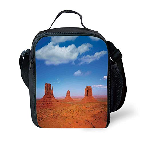 ZKHTO School Supplies Western,Monument Valley in Wild West Historical American Lands and Sky Photo Deco,Burnt Orange Blue for Girls or Boys Washable