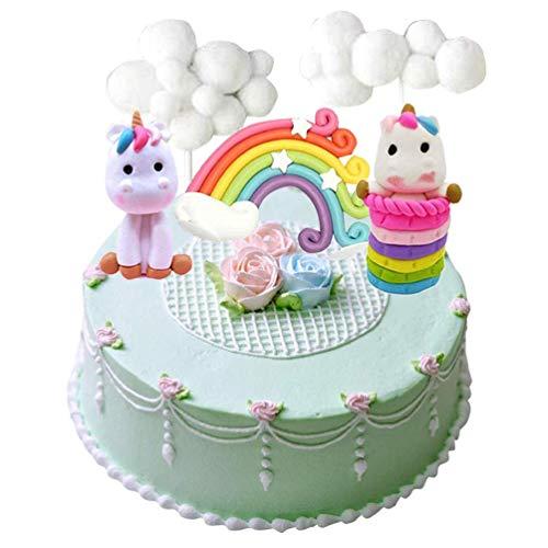MissGood Einhorn Cake Topper Wolke Regenbogen Stern Cake Topper Kuchen Dekorationen essbare Standup Wafer für Geburtstag Hochzeit Baby Shower Party Pack von 5