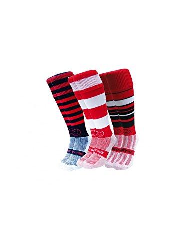 WackySox Saver Pack Roter Nebel Rugby-Eishockey Socken Erwachsenen Schuhgröße 41-46