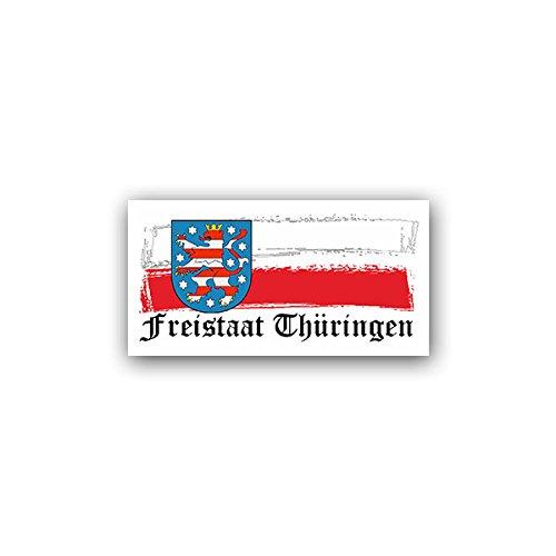Aufkleber / Sticker -Thüringen Freistaat TH Bundesrepublik Deutschland Erfurt Binnenstaat Weiß Rot Flagge Fahne Bunten Löwen Wappen Abzeichen Emblem 14x7cm #A2008