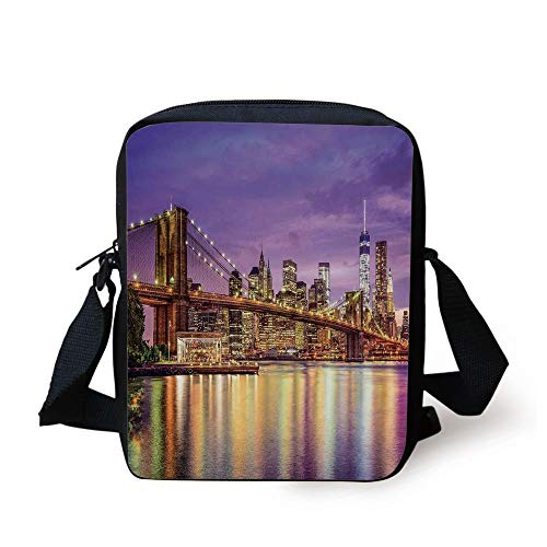 LULABE New York,NYC Exquisite Skyline Manhattan Broadway Old Neighborhood Tourist Country Print,Purple Gold Print Kids Crossbody Messenger Bag Purse