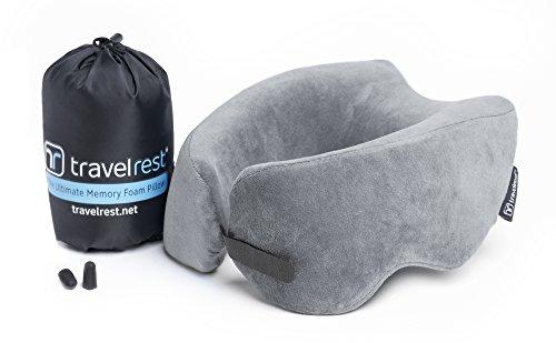Travelrest - Coussin de voyage en mousse à mémoire de forme - ergonomique, innovateur - le MEILLEUR coussin de voyage pour l'avion, la voiture, le bus...