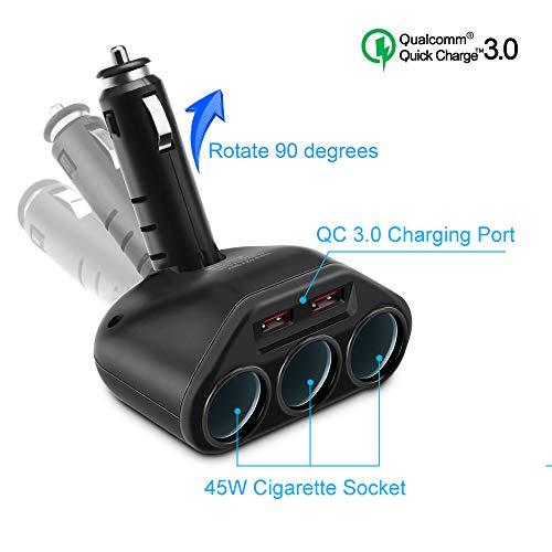 Rocketek Cargador de Coche USB, Dual QC3.0 USB con Divisor de Encendedor...