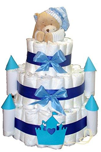 Preisvergleich Produktbild XXXL Windeltorte Prinzenschloss mit Spieluhr Bär blau - Geschenk zur Geburt und Taufe - Einzigartige Windeltorten von dubistda