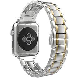 Für Apple Watch Series 1/2 Transer® Ersatz Uhrenarmbänder Edelstahl Uhrenarmband Armband für Uhren Länge: 175mm