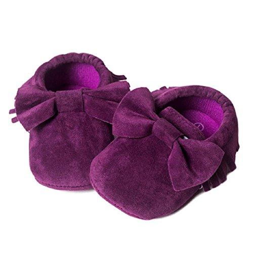 OverDose Baby-Mädchen Krippe Quasten bowknot Schuhe Kleinkind Turnschuhe Beiläufig Schuhe (0-18 Monate) Lila1