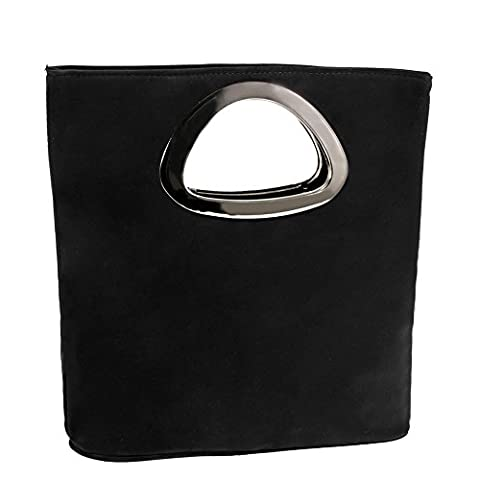 Clorislove Ladies Fashion Suede Leather Small Clutch & Evening Bag Tote Bag (Black)