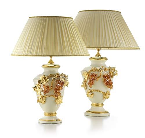Stella-Keramik,klein beige Tischlampe mit Gold und Swarovsky-Finish Bernstein, Stoff Lampenschirm -
