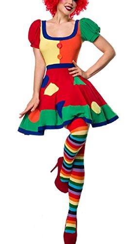 (Kurzes Damen Clown Outfit Kostüm Verkleidung mit Kleid, Perücke, Nase, Strümpfe mit Puffärmel in bunt XL Verkleidung)