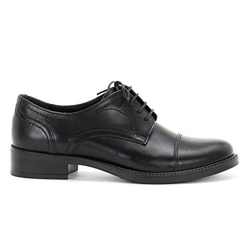 MARINA SEVAL by Scarpe&Scarpe - Chaussures à lacets et embout marqué, Chaussures Plates, en Cuir Noir