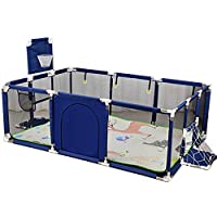 Playpen YXX- Large Toddler Babys for Twin, Safety Play Yard with Mat & Basketball Hoop, Extra Tall 66cm, Red/Blue