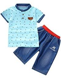 43d50234ede6 Counjunto de Ropa Bebé Niño Verano 2pc Camisa de Manga Corta Camiseta  Pantalones Cortos de Mezclilla Trajes Conjunto de Ropa para…