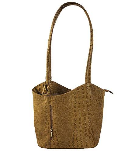 Freyday 2 in 1 Handtasche Rucksack Designer Luxus Henkeltasche aus Echtleder in versch. Designs (Kroko Taupe) - Taupe Strauß