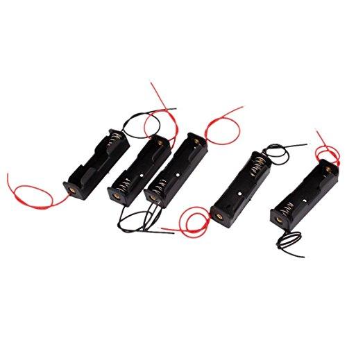 TOOGOO(R) 5 Stueck 1 x 1.5V AA Dualkabel Batterie Halter Plastikcase Aufbewahrung Box Schwarz+Rot