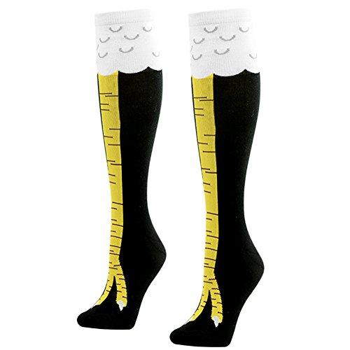 2 Paar Gohom Baumwollstrümpfe Hühnerfüße Kniestrümpfe lustige Socken für Damen Mädchen von Gmark,schwarz 36-41