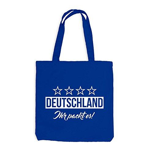 Jutebeutel - Deutschland Fussball Ihr packt es! - Germany Royalblau