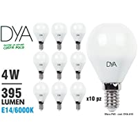 SET di 10 LAMPADINE LED SFERA G45 LED, 4W, 395Lumen, Attacco E14, LUCE FREDDA 6000K°